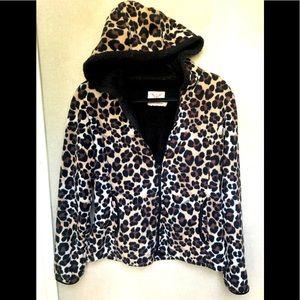 Faded Glory Leopard Print Fleece Zip-up Hoodie S